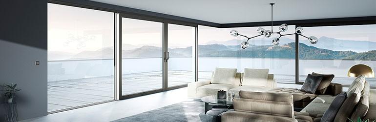 Le Corbusier Haustuer - Fensterfront mit grauem Rahmen