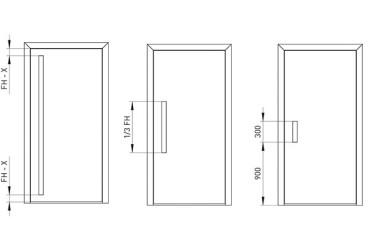 Le Corbusier Haustuer - Zeichnung von drei Griffmulden Laengen
