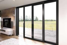 Aluminium Fenster-geoeffnete Terrassentuer Innenansicht