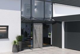 Le Corbusier Haustuer - Graue Haustuer mit Fassade und Vordach
