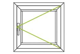 Aluminium Fenster-Bauformen-Drehfluegel nach rechs quadratisch