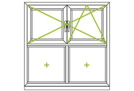 Aluminium Fenster-Bauformen-Dreh-Kippfluegel und feste Fluegel kombiniert