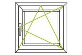 Aluminium Fenster-Bauform-Dreh-Kippfluegel nach rechts quadratisch