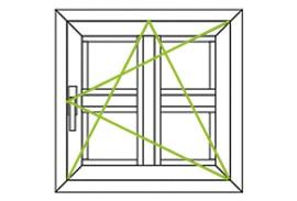 Aluminium Fenster-Bauformen-Dreh-Kippfluegel nach rechs Sprossenfenster