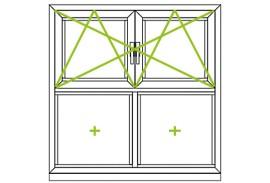 Aluminium Fenster-Bauformen-feste Fluegel und Dreh-Kipp-Fluegel kombiniert