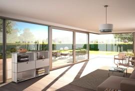 Rollladen-Wohnzimmer-mit-Terrassentuer-und-Sicht-in-den-Garten