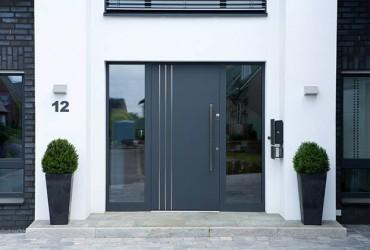 Aluminium Haustueren-Hauseingang-Anthrazit-Weiss