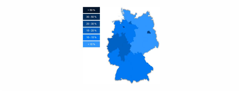 Schallschutz-Karte Deutschland Laermpegel nachts