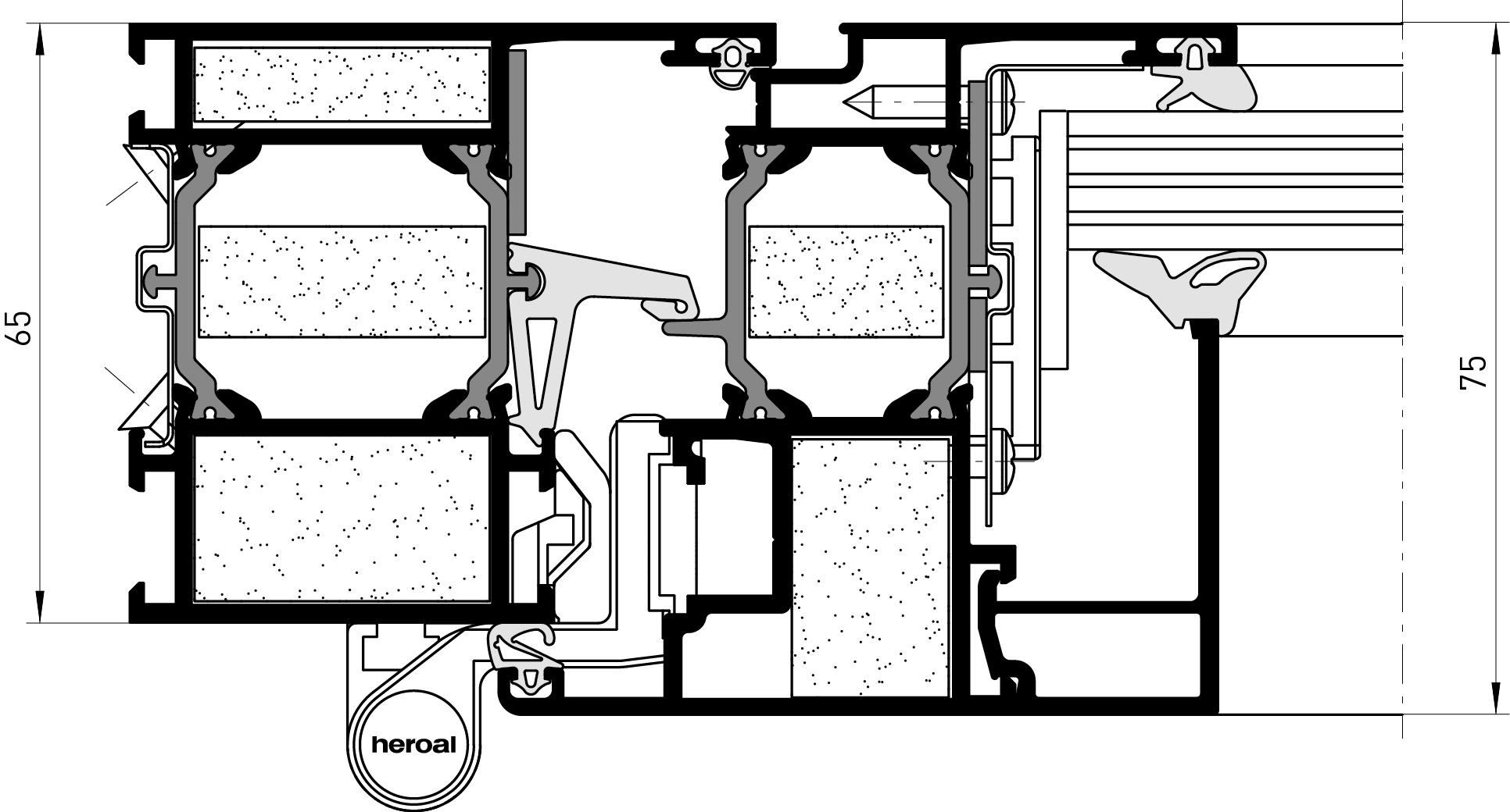 heroal w 65 fp fenstersysteme. Black Bedroom Furniture Sets. Home Design Ideas