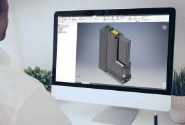 Architektenberatung-CAD-Daten-Dektop Bildschirm mit CAD-Zeichnung