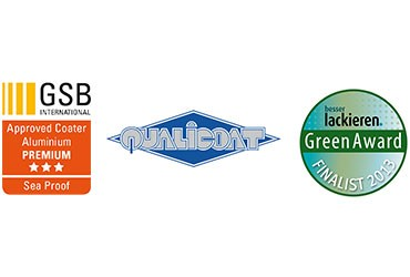 Oberflaechen und Designs-Auszeichnungen-Plaketten GSB Qualicoat und Greenaward