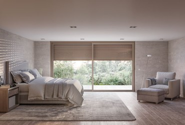 Terrassen Schiebetuer-Schlafzimmer Frontalansicht hellbeige