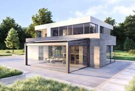 Terrassen-Schiebetuer-Terrassenueberdachung mit Glasschiebewand