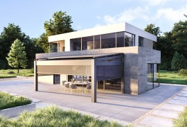 Terrassen-Schiebetuer-Terrassenueberdachung-Anthrazit-mit-Sitzgarnitur